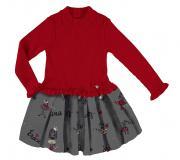 Rochie rosie tricotata copii 4933-30