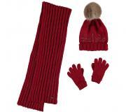 Set caciula, fular si manusi rosii copii 10292-62